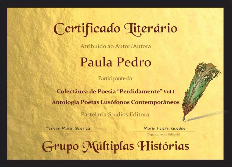 """© PP - Certificado Literário da Obra """"Perdidamente"""""""